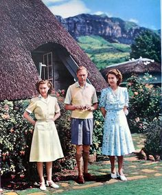 vintage-royalty: Bertie, Lilibet, and Margaret in South Africa. Taken on her 2st birthday on April 21, 1947.