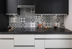 black-white, decoration, cuisine, renovation, amenagement, carreaux de ciment, lyon, appartement, marion lanoe, decoration, architecture interieure, ancien