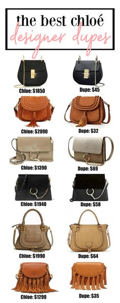 THE BEST CHLOE DUPES ON THE MARKET!!! Most under $50!  Fashion blogger Mash Elle shares a complete designer bag dupe guide! Designer bag dupes for Chloe, Gucci, Goyard, Gucci, Prada, Chanel, Clare V, Saint Laurent, Valentino, Fendi, Burberry, Givenchy and Mulberry!