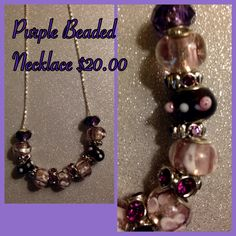 Mix and Mingle Metal Linen Beaded Necklace in Purple $20.00
