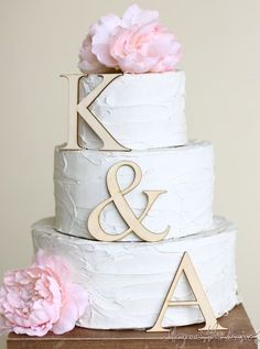 Personalized Cake Topper Wood Initials Rustic Chic by braggingbags