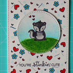card critters skunk You´re Stinkin Cute card - stamps and dies by Lawn Fawn Card Making Inspiration, Making Ideas, Lawn Fawn Stamps, Die Cut Cards, Card Crafts, Animal Cards, Valentine Cards, Cute Cards, Greeting Cards Handmade