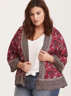 e5db9f82d65e27 Plus Size Border Print Cropped Kimono, LURU EXPRESSION Kimono 2017, Plus  Size Kimono,