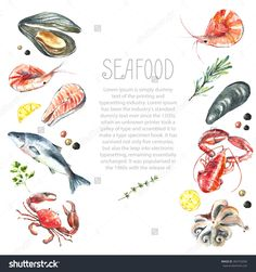 Watercolor frame of seafood.Hand draw isolated illustration on white background:lobster,crab,shrimp,octopus,mussel,salmon with herbs,lemon and peppers.Fresh organic food.