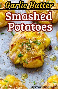 Side Dish Recipes, Veggie Recipes, Cooking Recipes, Easy Recipes, Potato Sides, Potato Side Dishes, Gold Potato Recipes, Smashed Potatoes Recipe, Stuffed Potatoes