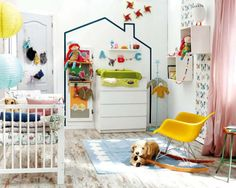 Nursery with washi tape house and yellow eames rocking chair Girl Room, Girls Bedroom, Baby Room, Childrens Bedroom, Child Room, Eames Rocking Chair, Deco Kids, Happy House, Nursery Design