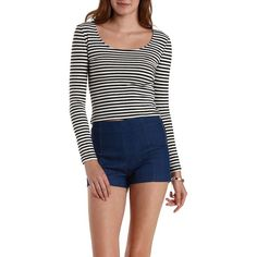 Charlotte Russe Black Combo Striped Zip Back Crop Top by Charlotte... ($16) ❤ liked on Polyvore