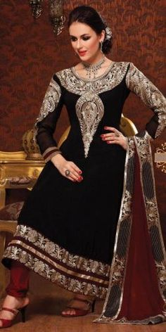 Black Poly Georgettte Salwar Suit - Rs. 3999