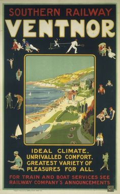 Colour print of rare 1920s Southern Railway Poster - Ventnor Isle of Wight | eBay
