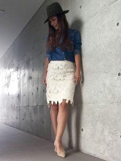 yurikoさんの「(GU)レースタイトスカート(GU)」を使ったコーディネート