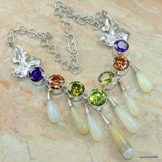Huge!! Ancient Secrets Agate Sterling Silver Necklace price: $181.32  #Popular  #Jewelry  #Fashion