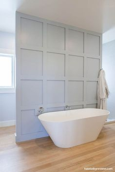 Hidden on the other side are the toilet, vanity and shower, against walls in Resene Powder Blue and trims in Resene Half Bianca. Diy Bathroom Decor, Bathroom Interior, Small Bathroom, Master Bathroom, White Bathroom, Bathroom Wall, Bathrooms, Interior Design Living Room, Interior Decorating