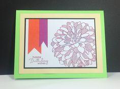 Regarding Dahlias, Petite Pairs, Birthday Card, Big Flower, Stampin Up Handmade Birthday Card, Flower is Heat Embossed