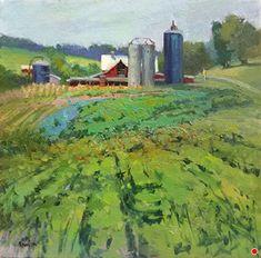 The Neighbor's Place by Debra Joyce Dawson, Oil, 12 x 12 Dandelion Oil, Tower Of Power, Pomegranate Oil, Geranium Oil, Utrecht, Early Spring, Art Forms, Barns, Pond