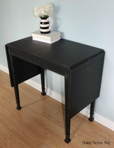 Entry Table painted with Old Fashioned Milk Paint in Pitch Black
