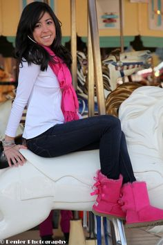 love her outfit! and DEF the boots! But would change the scarf to brown & the boots to black or viceversa
