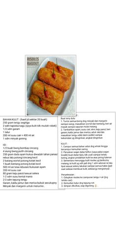 Risol rougut Indonesian Desserts, Indonesian Cuisine, Asian Desserts, Unique Recipes, Asian Recipes, Snack Recipes, Cooking Recipes, Snacks, Roti Canai Recipe