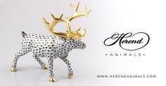 This Herend Reindeer figurine is a VH painted 18k Gold piece of the Manufactory of Herend.VH means Vieux Herend, the fishnet decor. Best choice for hunters!