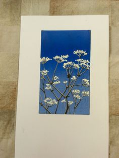 Cow Parsley and blue sky Linocut Print by Gerry Coles
