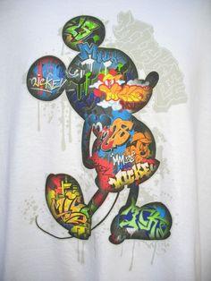 New Mens Disney Mickey Mouse XL T Shirt Tee Graffiti 100% Cotton White Multi #Disney #GraphicTee