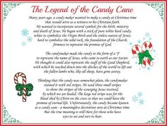 Legend of a Candy Cane Printable