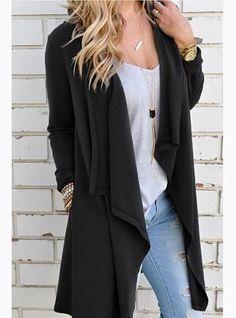 Women's Open Front Draping Jacket - Fashionable Hemline