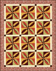 = free pattern=  Mirrored Leaves quilt by AE Nathan as seen at Quilt Inspiration