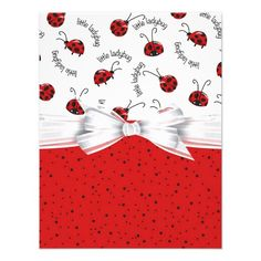 Ladybug Red And White Personalized Invite