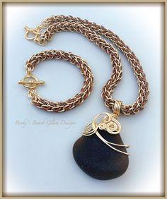 Brown Beauty Necklace & Bracelet  Set W/Handmade Tri-Color Chains, $132.00