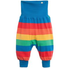 Frugi, baby trousers, suitable for both boys and girls. Made with soft organic cotton jersey with multi-coloured stripes. They are loose fitting with wide blue ribbing on the waist and ankles which can be worn rolled up or down.