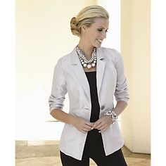 Want this jacket! Love the necklace too...  Jacket, Silver Boyfriend from Midnight Velvet®