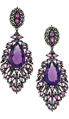 A pair of amethyst, pink sapphire and diamond pendent earrings Each pear-shaped amethyst drop to a radiating openwork cluster surround and surmount set with pear-shaped pink sapphires and brilliant and single-cut diamonds, post fittings, 7.2cm long