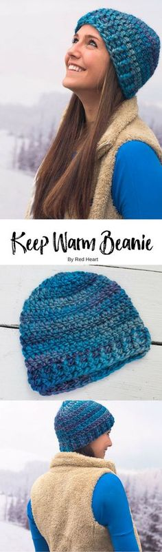 Keep Warm Beanie crocheted in Evermore. Crochet a beanie that will keep you warm and looking great at the same time! This yarn is extra thick and comes in wonderful color shadings. Post stitches are used to form the ribbed edging.
