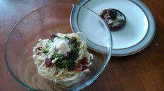 Bacon Aglio olio with Parmesan and pesto