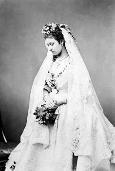 The Princess Louise, Duchess of Argyll, in her wedding dress, 1871