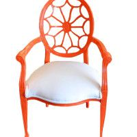 Red lacquer wheel back arm chair