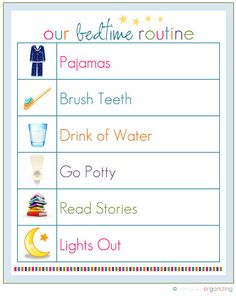 Bedtime Routine hanging up in childrens bedroom so theres no debate about what has to be done. Love it.#Repin By:Pinterest++ for iPad#