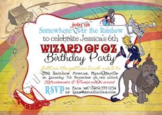 Wizard of Oz Birthday Invitation Follow the Yellow Brick Road