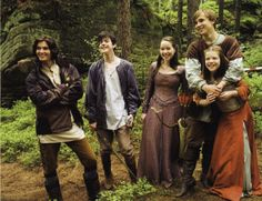 Behind the scenes still of Narnia actors during the filming of Prince Caspian
