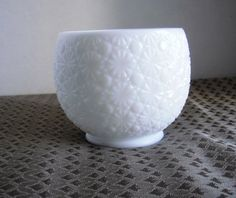 Milk Glass Ball Daisy and Button Vase Bowl by TandRTreasures, $16.00