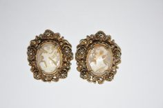 Vintage Earrings Shell Cameo 1950s Jewelry by patwatty on Etsy, $3.00