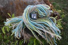 Felted Blue Yellow Brown and White Highlighted Wool Dreadlock Hair Extensions. $45.00, via Etsy.