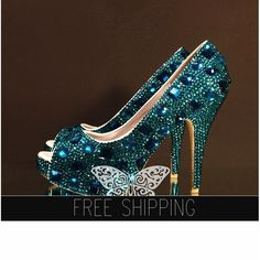 1. Top quality crystals  snow diamonds2. Image color: nbsp;Peacock Blue3. Image: 5 Heels, 1 1/4 Platforms4. 3,500 crystals, custom handmade5. 15 DAYS PROCESSING + shipping time