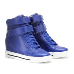 Marc by Marc Jacobs Concealed Wedge Leather High-Top Sneakers ($266) ❤ liked on Polyvore featuring shoes, sneakers, sapatos, wedges, zapatos, vacc, velcro wedge sneakers, high top shoes, studded lace-up wedge sneakers and wedge heel sneakers