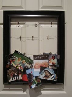 If you don't have room for sitting frames or hate having the photos in them get old, try this idea.  Take an open backed frame, string wire across it, and hang it anywhere.  This one is hanging on a door. Use miniature clothespins to hang pictures, invitations, birth announcements, etc.  They're easy to change out and it's a great way to display multiple photos at once. I glued cross charms to my pins to make them look better.  This photo show the top two wires empty so that you can see the…