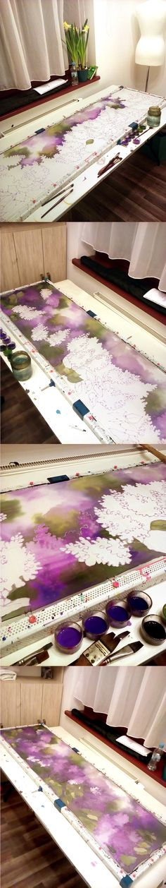 Process of painting Syntetic Lilacs silk scarf.  Here you can see steps of creation: silk painting in progress! #minkulul #silkpainting