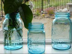 I love my new find... Old Aqua Mason Jars