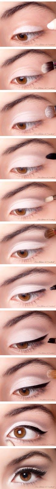 Black and white eye makeup fashion for ladies:-  Follow the following steps as shown in the above picture.......