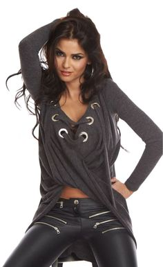 Grey Lace Up Long Sleeve Ruched Pullover Shirt