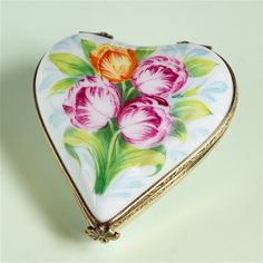 Limogs Heart with Tulips Box  The Cottage Shop